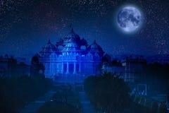 La India delhi El templo Akshardham por la luz de la Luna Llena Fotos de archivo libres de regalías