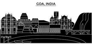 La India, horizonte urbano de la arquitectura de Goa con la señal libre illustration