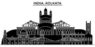 La India, horizonte urbano de la arquitectura de Kolkata stock de ilustración