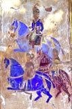 La India, Mandawa: frescos coloridos en las paredes Fotos de archivo