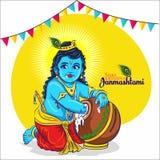 La India Pequeño krishna del señor Janmashtami feliz stock de ilustración