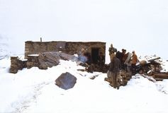 1977 La India Primer salón de té detrás del Rohtang-La Imagenes de archivo