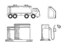 La industria y el transporte de petróleo bosquejaron iconos Imagen de archivo libre de regalías