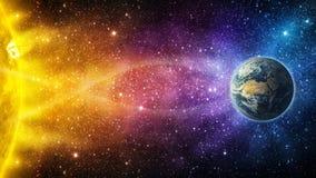 La influencia del sol en calentarse Tierra-global del planeta, mag stock de ilustración