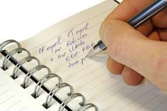 La información en un cuaderno. Imágenes de archivo libres de regalías
