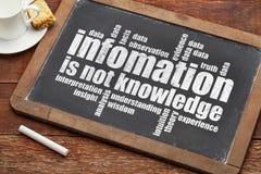 La información no es conocimiento Imagen de archivo libre de regalías