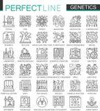 La ingeniería genética y la bioquímica resumen mini símbolos del concepto Ejemplos lineares del estilo del movimiento moderno fij stock de ilustración