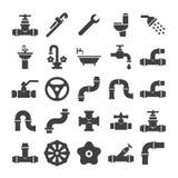 La ingeniería sanitaria, válvula, tubo, servicio de la fontanería se opone la colección de los iconos ilustración del vector