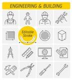 La ingeniería y el sistema del icono del vector del esquema del edificio libre illustration