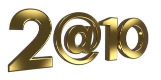 La inscripción 2010, en vez de cero utilizó @ la muestra. Imagen de archivo libre de regalías