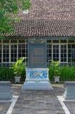 La inscripción bilingüe del Chino-Javanese en palacio del sultanato de Yogyakarta Fotografía de archivo