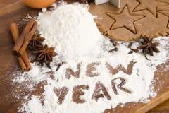 La inscripción en el Año Nuevo de la harina Fotos de archivo