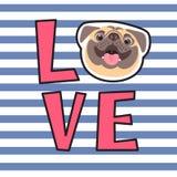 La inscripción en la camiseta del dueño del perro AMOR de la palabra con una cara del barro amasado Foto de archivo libre de regalías
