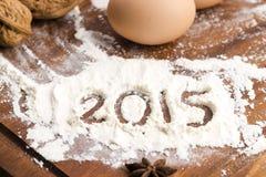 La inscripción en la harina - 2015 Fotografía de archivo libre de regalías