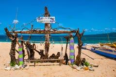 La inscripción en la playa Boracay, Filipinas fotos de archivo