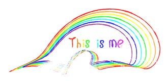 La inscripción manuscrita esto es yo en diversos colores del arco iris libre illustration