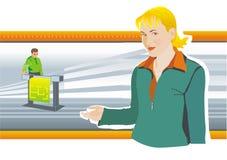 la Insegnante-donna fa la presentazione Fotografia Stock