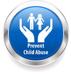 La insignia de la conciencia del acoso de la pederastia, previene pederastia Foto de archivo libre de regalías