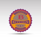 La insignia del vector con símbolo del bitcoin Imágenes de archivo libres de regalías