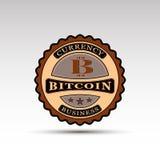 La insignia del vector con símbolo del bitcoin Fotografía de archivo libre de regalías