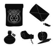 La insignia detective del ` s, la esposas en la mano criminal del ` s, el tocón del finger en el bolso, el frasco con stock de ilustración
