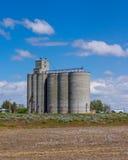 La instalación del almacenamiento del grano con los silos Imagenes de archivo