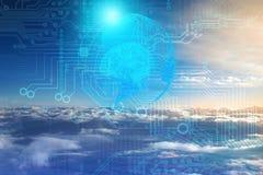 La inteligencia artificial como cosmos infinito es incomprensible y no accesible, sino desarrollándose y mejorando El hombre crea stock de ilustración