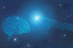 La inteligencia artificial como cosmos infinito es incomprensible y no accesible, sino desarrollándose y mejorando El hombre crea ilustración del vector