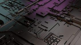 La inteligencia artificial relacionó el ejemplo 3D Circuito electrónico del cerebro fotos de archivo libres de regalías