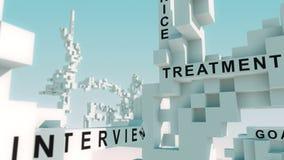 La inteligencia que entrena de la salud redacta animado con los cubos ilustración del vector