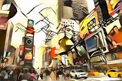 La interpretación del horizonte abstracto de la ciudad del vanguardismo del ` s de Nueva York Fotos de archivo libres de regalías