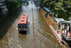 La inundación peor de Bangkok en 2011 fotografía de archivo