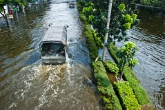 La inundación peor de Bangkok en 2011 imágenes de archivo libres de regalías
