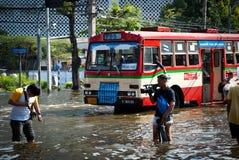 La inundación peor de Bangkok en 2011 imagen de archivo