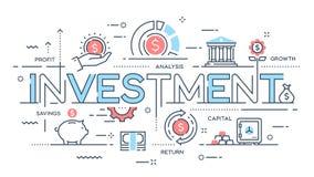 La inversión, estrategia, beneficio, capital, crecimiento, ahorros enrarece la línea stock de ilustración