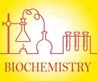 La investigación de la bioquímica representa los instrumentos de análisis y los evalúa stock de ilustración