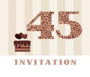 La invitación, 45 años, torta de chocolate, en forma de corazón, vector Foto de archivo