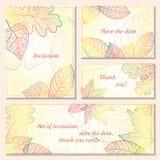 La invitación, ahorra las tarjetas de fecha con las hojas de otoño Fotografía de archivo