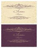 La invitación carda el oro y Borgoña Foto de archivo libre de regalías