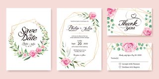 La invitación de la boda, ahorra la fecha, gracias, diseño de tarjeta del rsvp fotografía de archivo