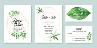 La invitación de la boda, ahorra la fecha, gracias, plantilla del diseño de tarjeta del rsvp Dólar de plata, hojas verdes olivas  imagen de archivo libre de regalías
