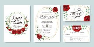 La invitación de la boda, ahorra la fecha, gracias, plantilla del diseño de tarjeta del rsvp Vector Flor del verano, rosa roja, d fotografía de archivo