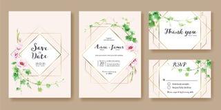 La invitación de la boda, ahorra la fecha, gracias, plantilla del diseño de tarjeta del rsvp Vector Hiedra del verdor, flor rosad imagen de archivo