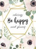 La invitación de la boda floral invita al rosa blanco de la anémona del diseño de tarjeta libre illustration