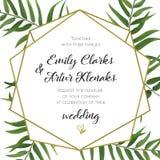La invitación de la boda, floral invita a diseño de tarjeta con tropica verde libre illustration