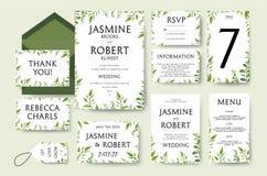 La invitación de la boda invita a diseño de tarjeta: ramas verdes del árbol, leav ilustración del vector