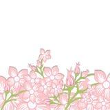 La invitación de la boda del vintage con la primavera rosada colorida florece VE Imágenes de archivo libres de regalías
