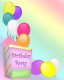 La invitación de la fiesta de cumpleaños hincha el regalo Imagen de archivo