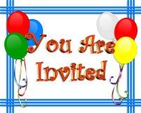 La invitación del cumpleaños hincha la frontera Imágenes de archivo libres de regalías