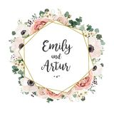 La invitación floral de la boda elegante invita a diseño del vector de la tarjeta: lepisosteus stock de ilustración